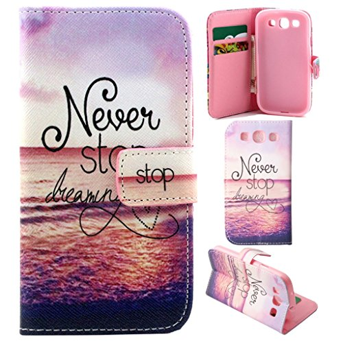 S3 Case, S3 Wallet Case, Galaxy S3 Flip Case,Gift_Source - Never Stop Dreaming Pattern Premium Wallet Case Flip Cover for Samsung Galaxy S3 III i9300 +1X Screen Protector and Stylus Pen