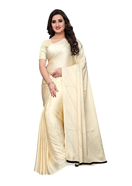 56925ec2f218d9 Cream Color Satin Printed Work Saree With Blouse  Amazon.in  Clothing    Accessories