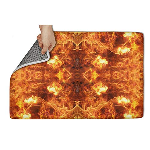 MEN45MEN Stereoscopic Flames Burning Pattern Pet Personalized Floor Mats Durable Entrance Rug Soft and Comfortable Touch ()