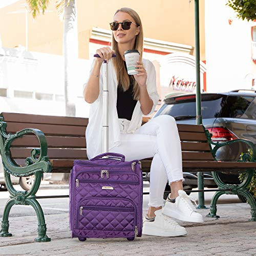 "Carry-on suitcase. 16.5"" Underseat Women Luggage Carry On Suitcase - Small Rolling Tote Bag with Wheels (Purple)"