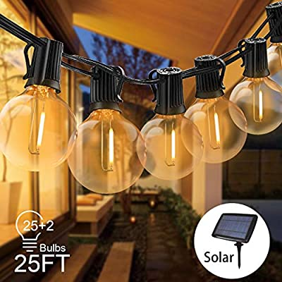 Svater Solar String Lights 25FT Waterproof LED Indoor/Outdoor Garden Lights with 27 Bulbs Patio Lights for Party Porch Cafe