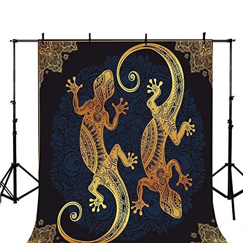 Gold Mandala Stylish Backdrop,Artistic Gecko Lizard Figures Boho Framework Tropical Henna Tattoo Style for Photography,118