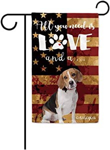 BAGEYOU All You Need is Love and a Dog Beagle Decorative Garden Flag for Outside Cute Puppy Paws with America Flag Patriotic Banner 12.5X18 Inch Printed Double Sided
