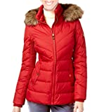 MICHAEL Michael Kors Faux-Fur-Trim Hooded Puffer Coat - Red (Large)
