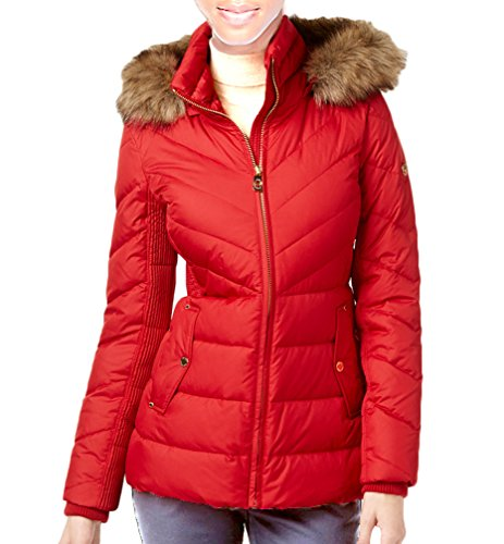 MICHAEL Michael Kors Faux-Fur-Trim Hooded Puffer Coat - Red (Large) by MICHAEL Michael Kors