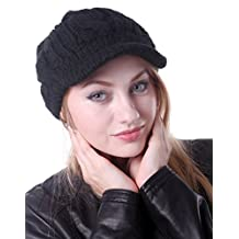 HDE Women's Winter Crochet Cable Braided Knit Slouchy Visor Beanie Warm Snow Hat