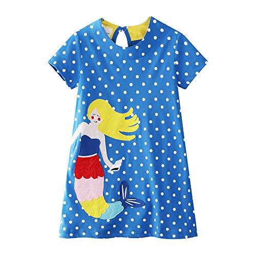 Cute Toddler Girl Tunic Dress Shirt Mermaid Dot Short Sleeve Cotton Basic Dress