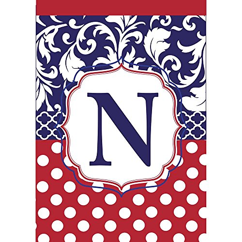 Monogram N Red White Polka Dot and Filigree Blue 18 x 13 Rectangular Applique Small Garden Flag