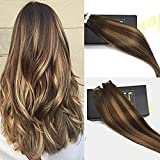 Sunny 100g/40pcs Two Tone Hair Extensions Dark Brown to Caramel Blonde Silk Straight 100% Remy Human Hair Tape in Human Hair Extensions 22inch
