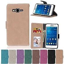 G530 Flip Case, Galaxy Grand Prime case, Samsung Galaxy Grand Prime Case Cover,YiLin PU Leather Flip Folio Wallet Case Cover for Samsung Galaxy Grand Prime - BEIGE