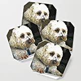 Society6 Drink Coasters, Doggie In The Window by judypalkimas, set of 4