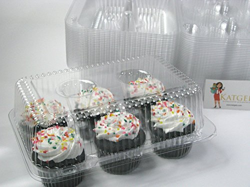 Katgely 6 Cavity Cupcake Containers with Deep Dome (Pack of (Cupcake Container)