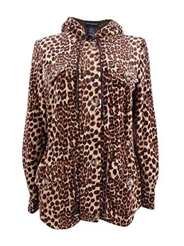 Sutton Studio Womens Leopard Print Anorak Jacket with Hood (S)