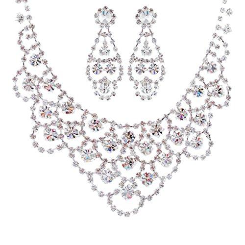 ACCESSORIESFOREVER-Women-Bridal-Wedding-Prom-Fashion-Jewelry-Set-Crystal-Rhinestone-Classic-Bib-Drop-Necklace-Silver
