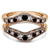 10k Rose Gold Vintage Style Filigree and Milgraining Contour Ring Guard with Black And White Diamonds (G-H,I2-I3) (0.75 ct. tw.)
