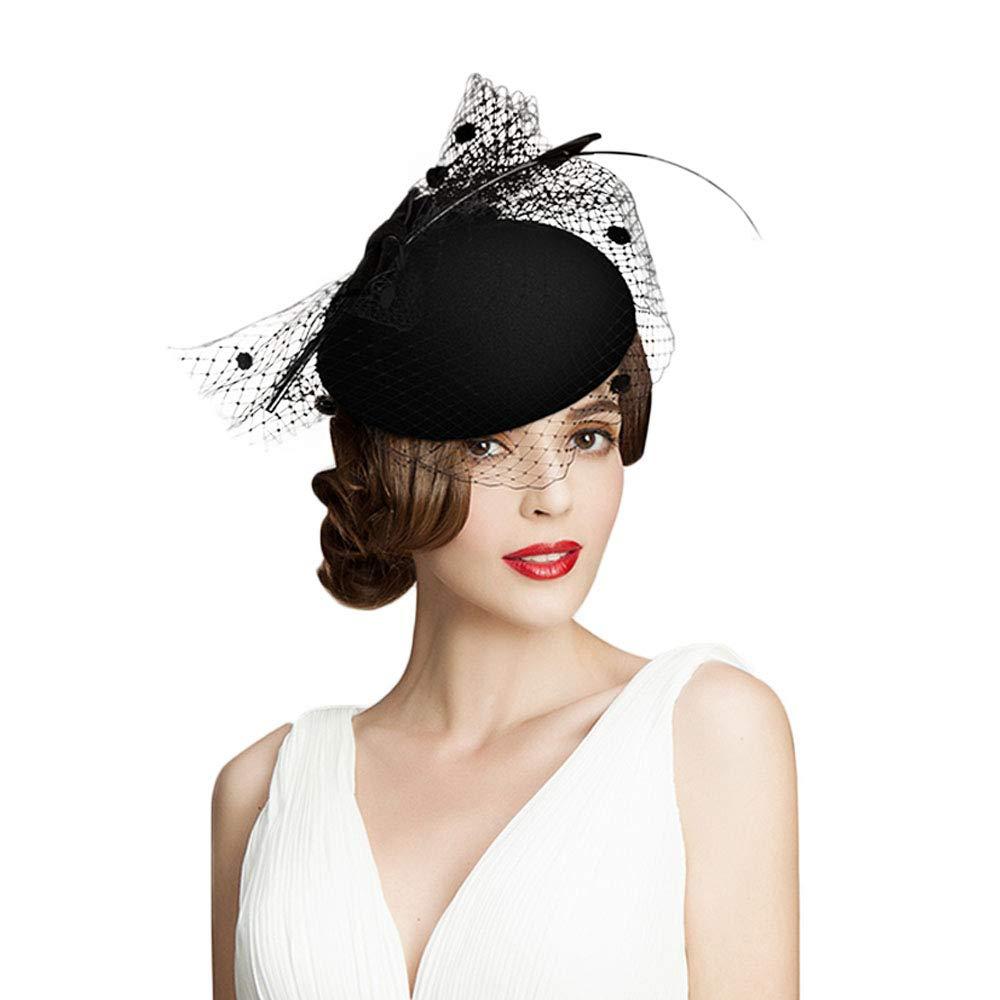 F FADVES 100% Australian Wool Pillbox Hat Black Veil Fedora Lepoard Print Fascinator