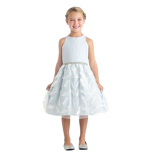 3c1f0d5564b Sweet Kids Little Girls Blue Feather Patch Mesh Cocktail Flower Girl Dress 6
