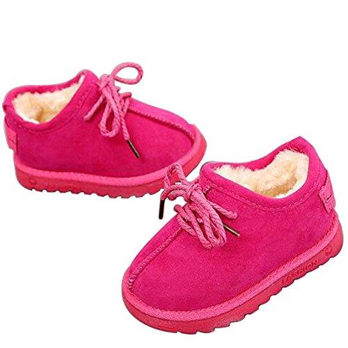 Hzjundasi Winter Baby Schuhe Kinder Junge Mädchen Anti-Rutsch Leder Wasserdicht Erstes Gehen Beiläufig Schuh 1-6 Jahr Rot