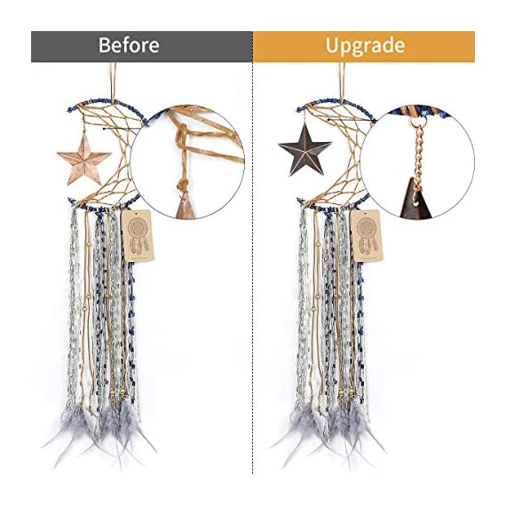 Dremisland Blue Dream Catcher Handmade Half Circle Moon Design Dream Catcher Feather Hanging with Star Home Decoration… - Material: Metal circle, Wood beads, Natural feather, cotton Lace,Vintage Star Diameter size:20m/8 inch, total length:64cm/25inch Unique Star design Creates a festive and cheerful atmosphere for the room. - living-room-decor, living-room, home-decor - 51pNZonZ3eL. SS570  -