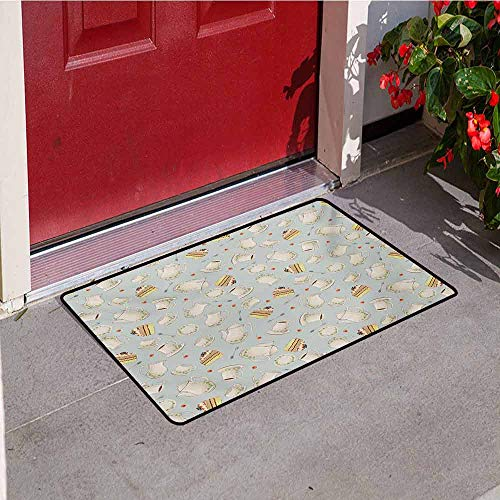 Jinguizi Tea Party Commercial Grade Entrance mat Coffee Pot Teapot Spoons Plates and Creamy Slices of Cake with Cherries for entrances garages patios W47.2 x L60 Inch Bluegrey Red Green
