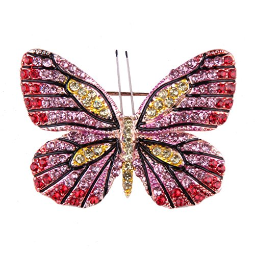 Reizteko Winged Butterfly Vintage Colorful Rhinestone Insect Brooch Pin in Crystal for Women&Girls (Butterfly # - Butterfly Colorful Pin