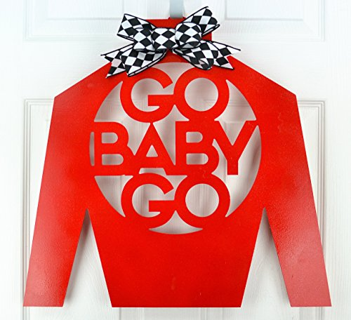 Kentucky Derby Jockey Silks - Kentucky Derby Jockey Silk | Go Baby Go Door Hanger | Red Black White | MANY COLORS