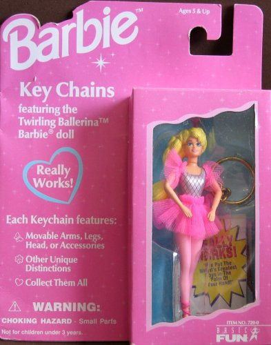 Twirling Ballerina Barbie Doll Key Chain - Really Works!