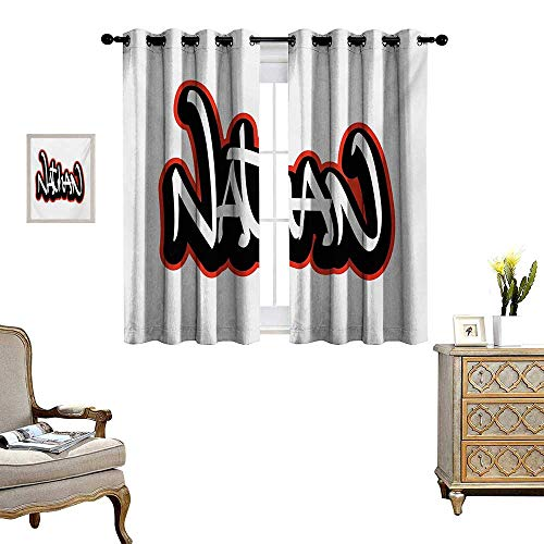 Nathan Thermal (WinfreyDecor Nathan Thermal Insulating Blackout Curtain Artistic Boys Name Graffito Wall Writing Design for Men Doodle Style Patterned Drape for Glass Door W72 x L45 Vermilion Black and White)
