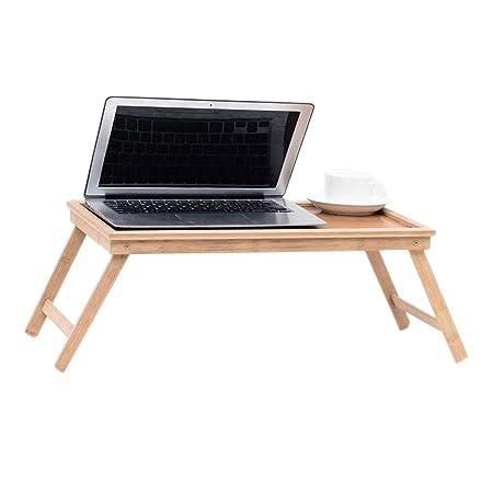 Elevar la Cama Ordenador de Mesa Bandeja móvil Plegable de bambú ...
