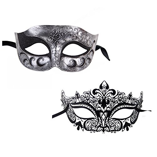 Glitter Mardi Gras Mask - Xvevina Luxury Masquerade Mask for Couples One Pair (Pretty Couple)