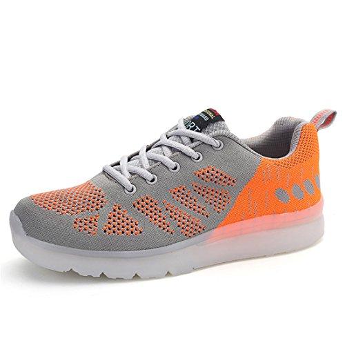 Zapatos coloridos luminosos LED zapatos fluorescentes luces recargables zapatos casuales zapatos USB emisores de luz de los hombres de los zapatos que vuelan tejidas Gris,Naranja