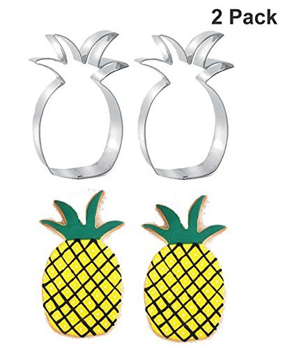 Pineapple Cookie Cutter Stainless Steel Biscuit cake Molds,Luau Party Decor Size 4.2 Inch (2 Pcs)