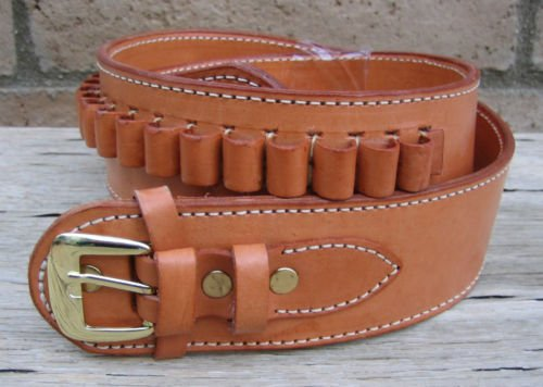 Ammo Western (NEW! TAN Deluxe Genuine Leather Cartridge Gun Belt Style 22 cal LC Ammo Loops Western SASS Cowboy Gun Pistol By GUNS4US)