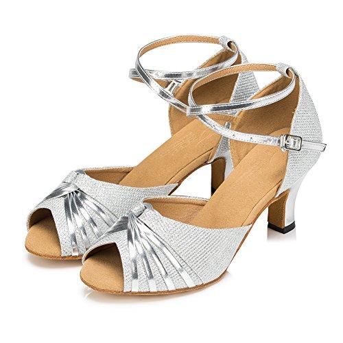 Zapatillas Plateado Misu De Para Plata Mujer Danza 4Wqd8v
