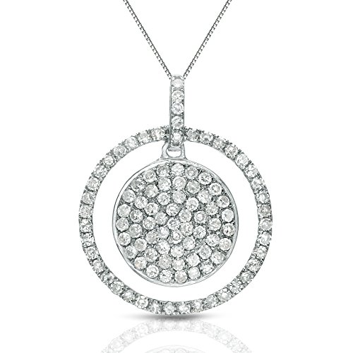 14k White Gold Double Circle Diamond Pendant Necklace (0.40 cttw) 18