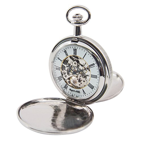 Regent Hills Vintage Silver Mechanical Double Hunter Skeleton Pocket Watch With Chain 55529CP-W2 by Regent Hills