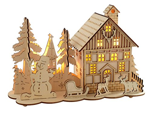 Warm Christmas Scene - WeRChristmas 28 cm Pre-Lit Wooden House Snow Reindeer Scene with Tree Window Christmas Decoration Illuminated with Warm White LED Lights by WeRChristmas