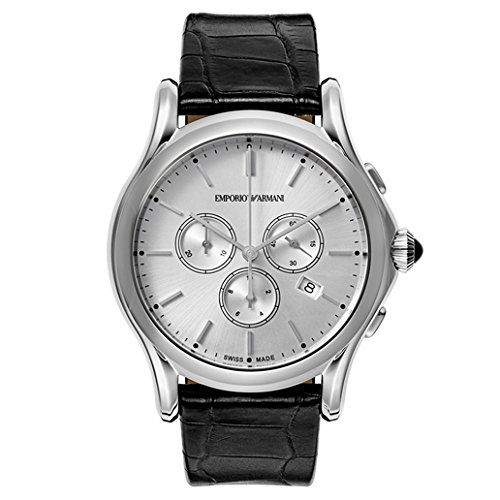 Emporio Armani Swiss Made Men's Swiss Quartz Stainless Steel and Leather Dress Watch, Color:Black (Model: ARS4002)