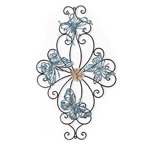 Butterfly Metal Flowers (Adeco Flower and Butterfly Urban Design Metal Wall Decor for Nature Home Art Decoration & Kitchen Gifts - 26.5x15.5 Inches)