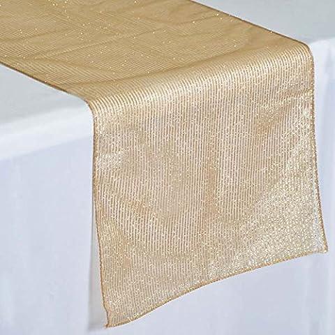Tableclothsfactory Razzle-Dazzle Glitter Pinstripe Organza Table Runner - Gold (Razzle Dazzle Glitter)