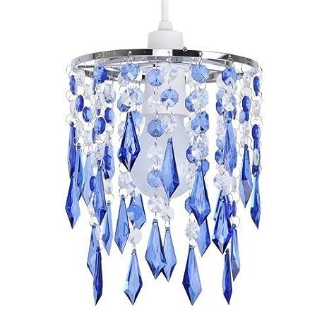 MiniSun - Elegante pantalla de lámpara de estilo candelabro, con cascada de ornamentos transparentes y azules