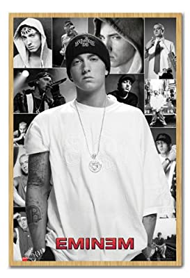 Eminem Collage Poster Cork Pin Memo Board Beech Framed - 96.5 x 66 cms (Approx 38 x 26 inches)
