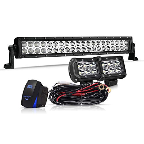 TURBOSII DOT Approved 20/22 Inch Led Light Bar Spot Flood Combo Offroad Work Light Driving Fog Lamp On Bumper Roof Rack Grill Fit Truck Chevy 4X4 Boat Honda Golf Cart Jeep Polaris Ranger Rzr ATV UTV