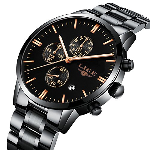 Watch,Men's Fashion Luxury Chronograph Sports Watches,Waterproof Analog Quartz Wrist Watch for Man Steel (Sport Watch Steel Quartz)