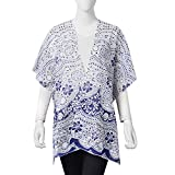 White and Navy 100% Polyester Floral Lace Pattern Swimsuit Cover-ups Kimono For Women One Size
