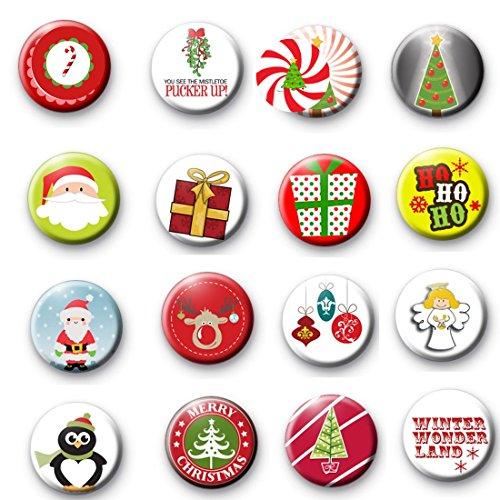 Symbol Pinback Button - 16 Pcs Christmas Symbol Pinback Button Pin 1.25
