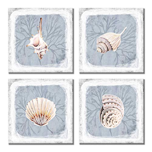 Paimuni Seashell Wall Decor 4 Pieces Modern Ocean Beach Picture Small Conch Shell Painting Print on Canvas for Bathroom Kitchen Decoration Coastal Wall Art Ready to Hang 12x12 inches ()