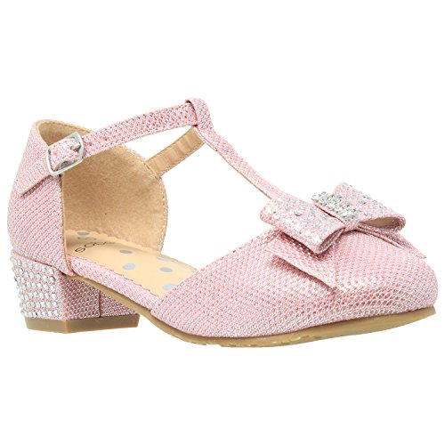 Girls Low Heels Pumps T-Strap Bow Accent Glitter Rhinestone Mary Jane Kids Sandals Pink SZ 11