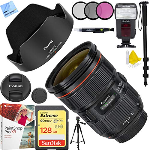 Canon EF 24-70mm f/2.8L II USM Lens with Sandisk 128GB SDXC Memory Card Plus 82mm Accessories Bundle (Canon Ef 24 70mm F 2-8 L)