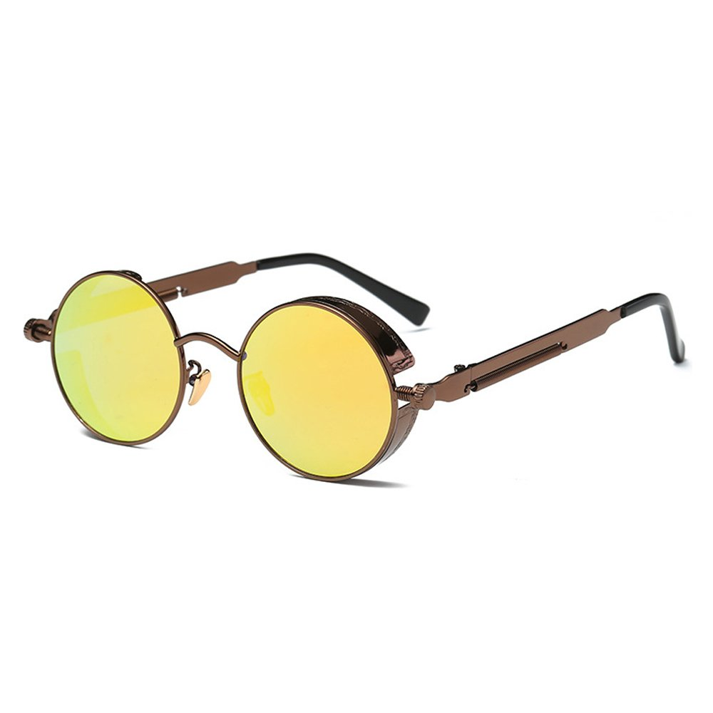 AMZTM Small Round Metal Frame Driving Glasses Mirrored Reflective Lens Polarized Sunglasses For Women and Men (Dark Brown Frame and Yellow Lens, 48)